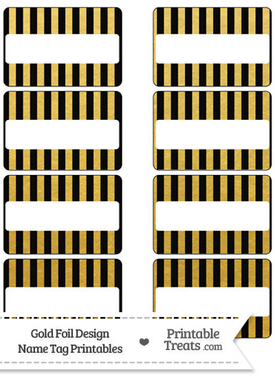 Black and Gold Foil Stripes Name Tags from PrintableTreats.com