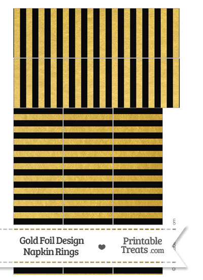 Black and Gold Foil Stripes Napkin Rings from PrintableTreats.com