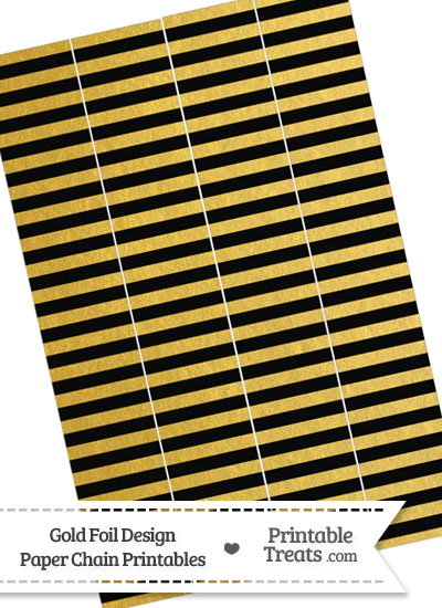 Black and Gold Foil Stripes Paper Chains from PrintableTreats.com