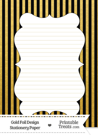 Black and Gold Foil Stripes Stationery Paper from PrintableTreats.com