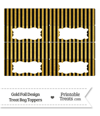 Black and Gold Foil Stripes Treat Bag Toppers from PrintableTreats.com