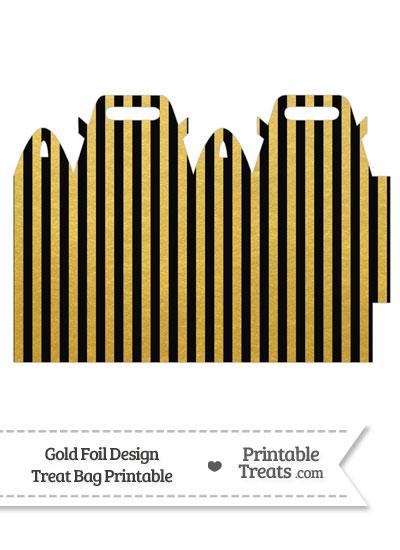 Black and Gold Foil Stripes Treat Bag from PrintableTreats.com