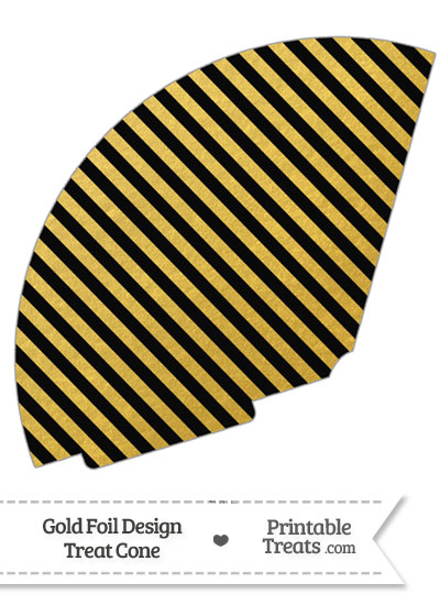 Black and Gold Foil Stripes Treat Cone from PrintableTreats.com