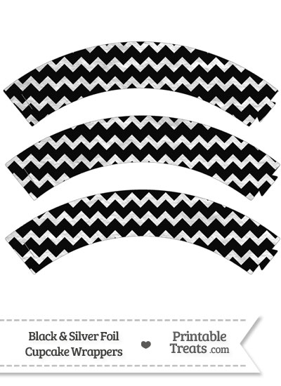 Black and Silver Foil Chevron Cupcake Wrappers from PrintableTreats.com
