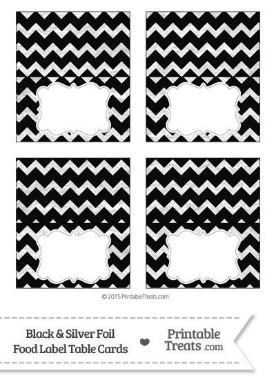 Black and Silver Foil Chevron Food Labels from PrintableTreats.com