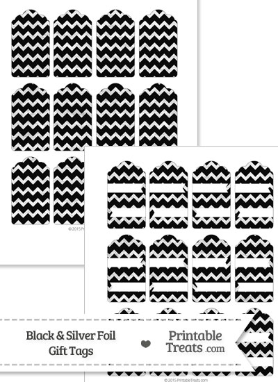 Black and Silver Foil Chevron Gift Tags from PrintableTreats.com