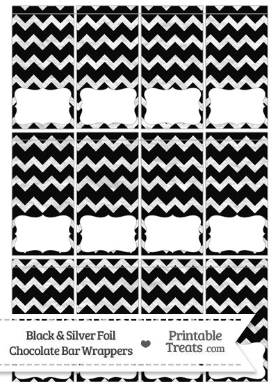 Black and Silver Foil Chevron Mini Chocolate Bar Wrappers from PrintableTreats.com