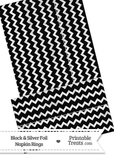 Black and Silver Foil Chevron Napkin Rings from PrintableTreats.com