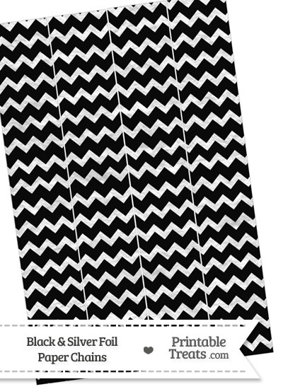 Black and Silver Foil Chevron Paper Chains from PrintableTreats.com