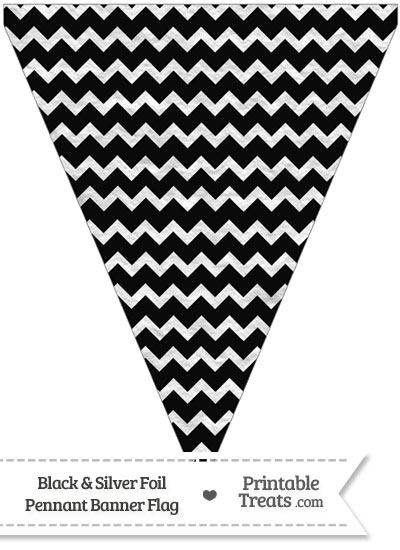 Black and Silver Foil Chevron Pennant Banner Flag from PrintableTreats.com