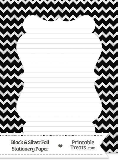 Black and Silver Foil Chevron Stationery Paper from PrintableTreats.com