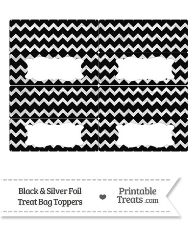 Black and Silver Foil Chevron Treat Bag Toppers from PrintableTreats.com