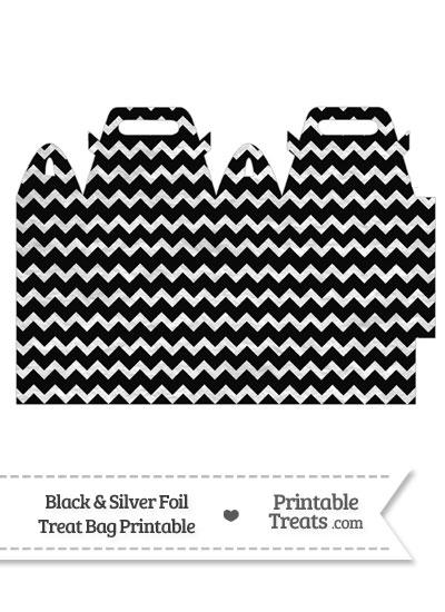 Black and Silver Foil Chevron Treat Bag from PrintableTreats.com