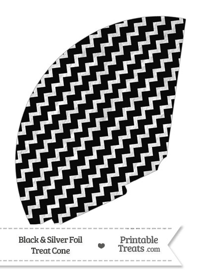 Black and Silver Foil Chevron Treat Cone from PrintableTreats.com