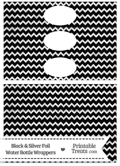 Black and Silver Foil Chevron Water Bottle Wrappers from PrintableTreats.com