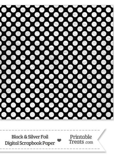 Black and Silver Foil Dots Digital Scrapbook Paper from PrintableTreats.com