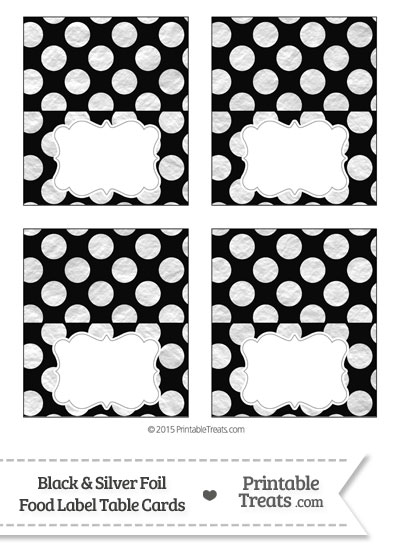 Black and Silver Foil Dots Food Labels from PrintableTreats.com