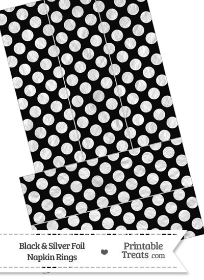 Black and Silver Foil Dots Napkin Rings from PrintableTreats.com