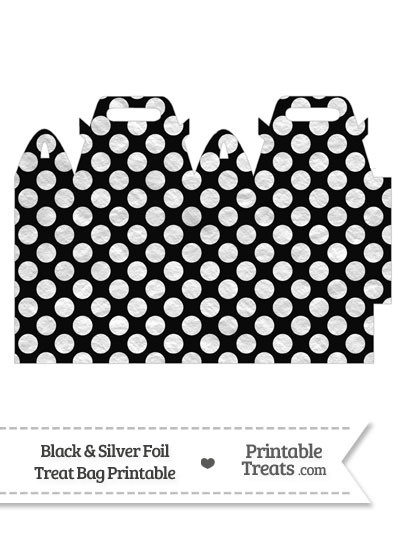 Black and Silver Foil Dots Treat Bag from PrintableTreats.com