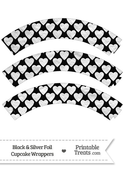 Black and Silver Foil Hearts Cupcake Wrappers from PrintableTreats.com