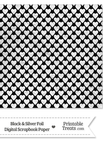 Black and Silver Foil Hearts Digital Scrapbook Paper from PrintableTreats.com
