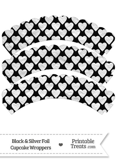Black and Silver Foil Hearts Scalloped Cupcake Wrappers from PrintableTreats.com