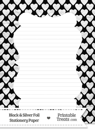 Black and Silver Foil Hearts Stationery Paper from PrintableTreats.com