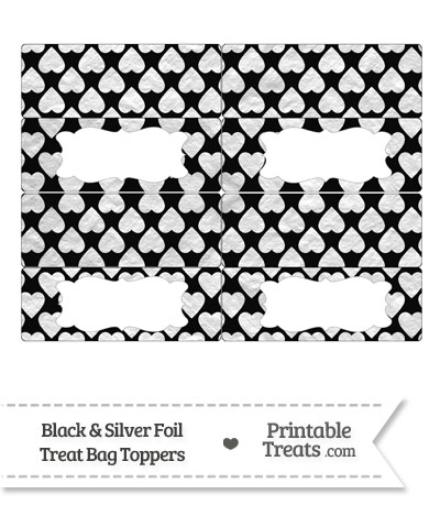 Black and Silver Foil Hearts Treat Bag Toppers from PrintableTreats.com