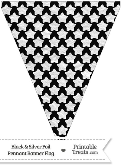 Black and Silver Foil Stars Pennant Banner Flag from PrintableTreats.com