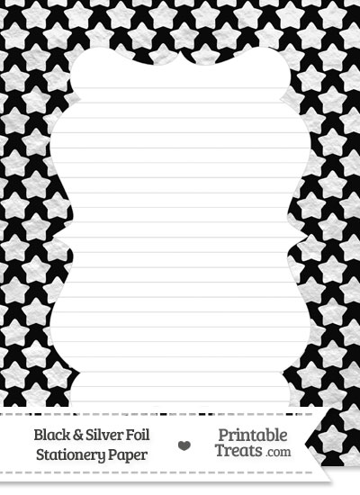 Black and Silver Foil Stars Stationery Paper from PrintableTreats.com
