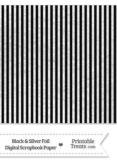 Black and Silver Foil Stripes Digital Scrapbook Paper from PrintableTreats.com