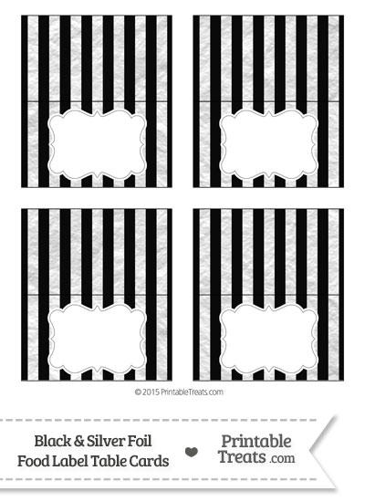 Black and Silver Foil Stripes Food Labels from PrintableTreats.com