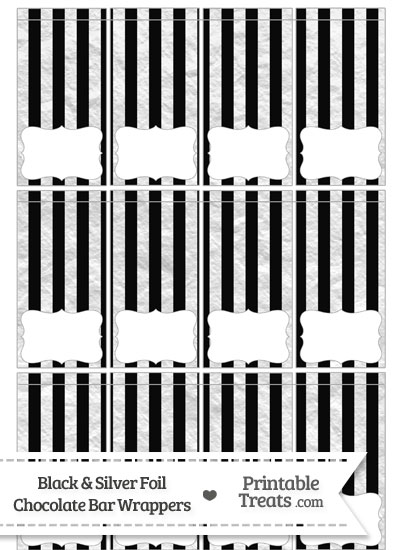 Black and Silver Foil Stripes Mini Chocolate Bar Wrappers from PrintableTreats.com