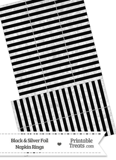 Black and Silver Foil Stripes Napkin Rings from PrintableTreats.com