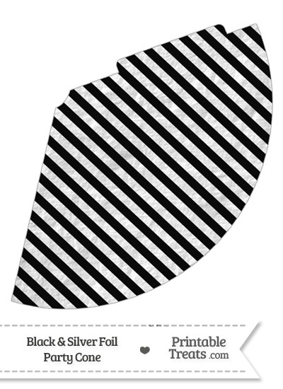 Black and Silver Foil Stripes Party Cone from PrintableTreats.com