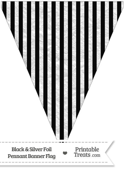 Black and Silver Foil Stripes Pennant Banner Flag from PrintableTreats.com