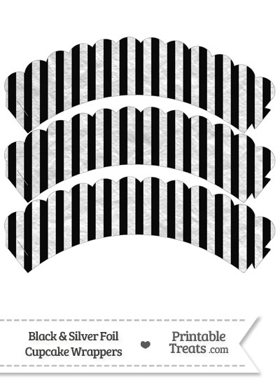 Black and Silver Foil Stripes Scalloped Cupcake Wrappers from PrintableTreats.com
