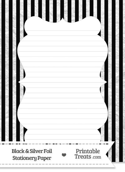 Black and Silver Foil Stripes Stationery Paper from PrintableTreats.com