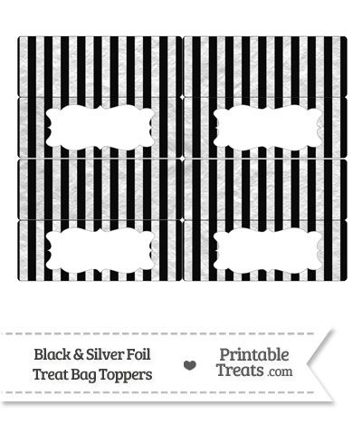 Black and Silver Foil Stripes Treat Bag Toppers from PrintableTreats.com