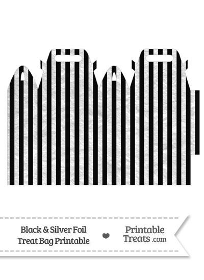 Black and Silver Foil Stripes Treat Bag from PrintableTreats.com
