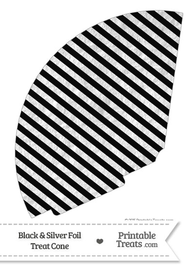 Black and Silver Foil Stripes Treat Cone from PrintableTreats.com