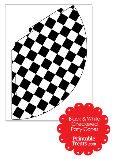 Black and White Checkered Party Cones by PrintableTreats.com
