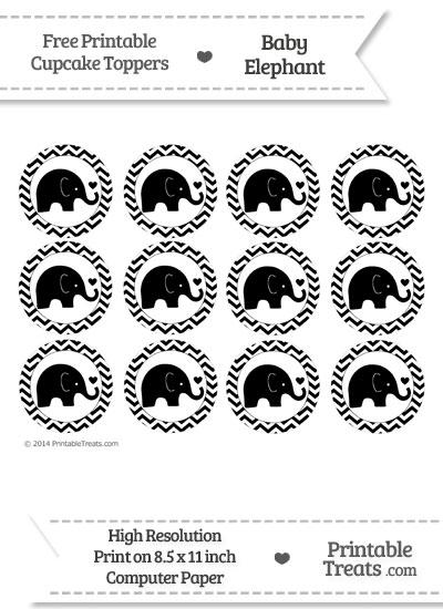 Black Baby Elephant Chevron Cupcake Toppers from PrintableTreats.com