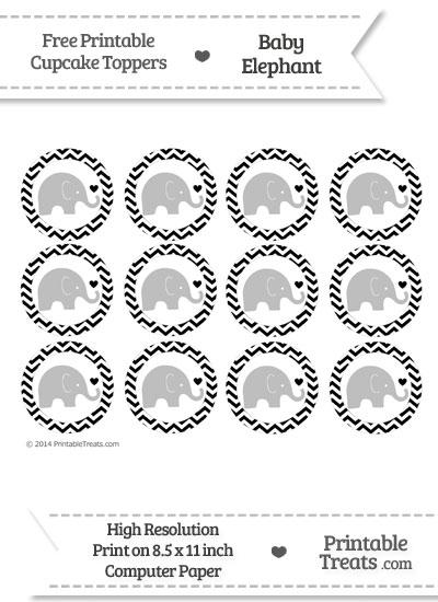 Black Chevron Baby Elephant Cupcake Toppers from PrintableTreats.com