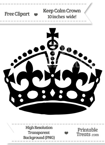 Black Keep Calm Crown Clipart from PrintableTreats.com
