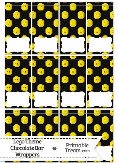 Black Lego Theme Mini Chocolate Bar Wrappers from PrintableTreats.com