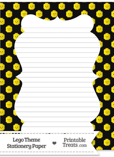 Black Lego Theme Stationery Paper from PrintableTreats.com