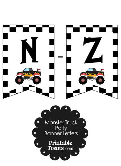 Black Monster Truck Banner Letters N-Z from PrintableTreats.com