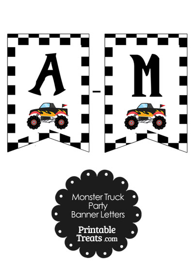 Black Monster Truck Birthday Bunting Banner Letters A-M from PrintableTreats.com