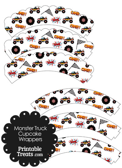 Printable Black Monster Truck Cupcake Wrappers from PrintableTreats.com